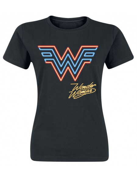 Wonder Woman Logo Néon T-shirt Femme noir