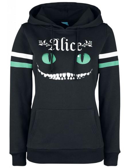 Alice Au Pays Des Merveilles Cheshire Cat Sweat à Capuche Femme noir