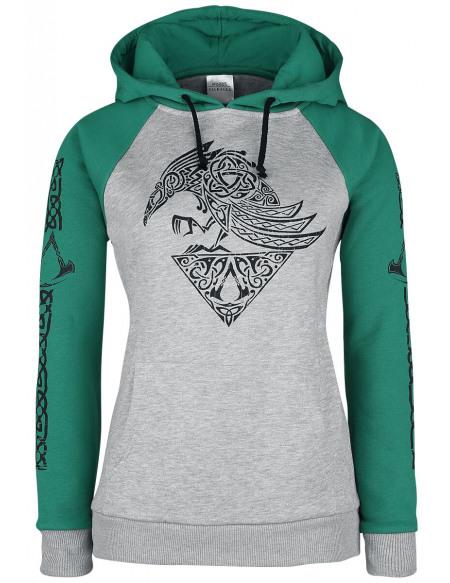 Assassin's Creed Valhalla - Corbeau Sweat à Capuche Femme gris chiné/vert