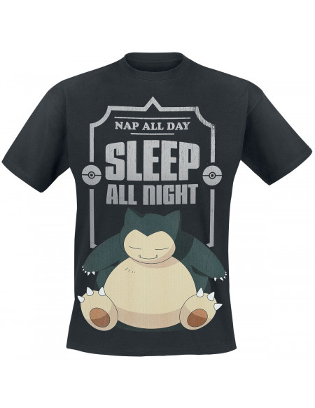 Pokémon Ronflex - Sleep All Night T-shirt noir