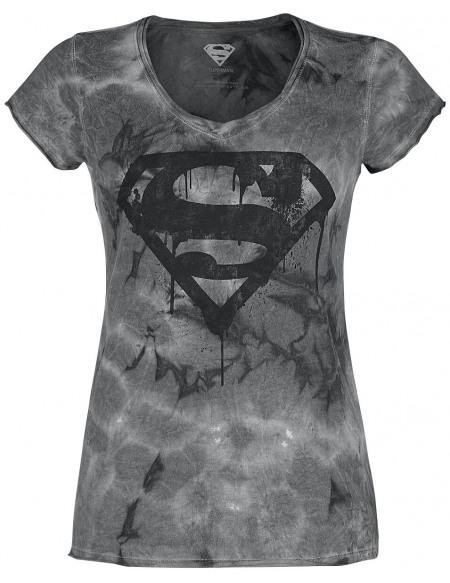 Superman Logo Peinture T-shirt Femme gris