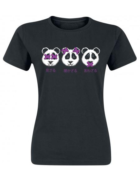 3 Panda T-shirt Femme noir