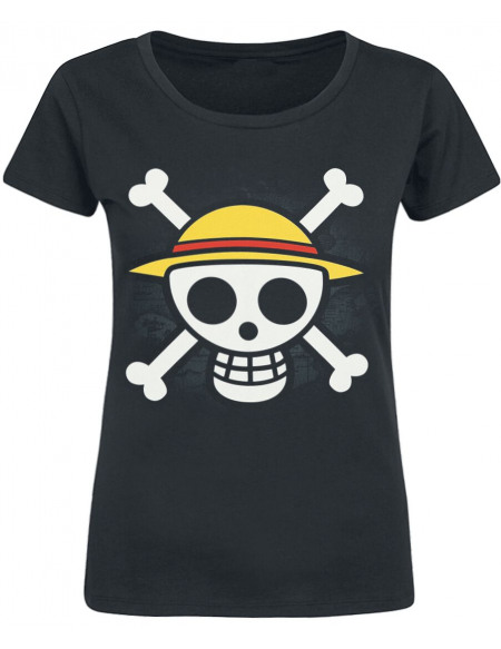 One Piece Drapeau Pirate T-shirt Femme noir