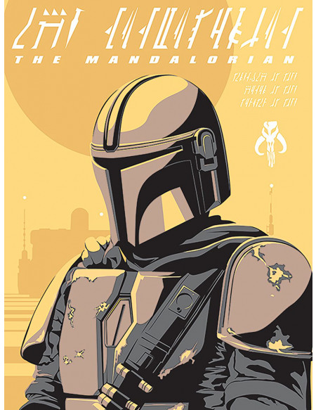 Star Wars The Mandalorian - Illustration Toile imprimée Standard