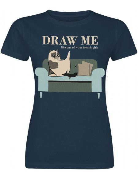 Grumpy Cat Draw Me T-shirt Femme bleu foncé