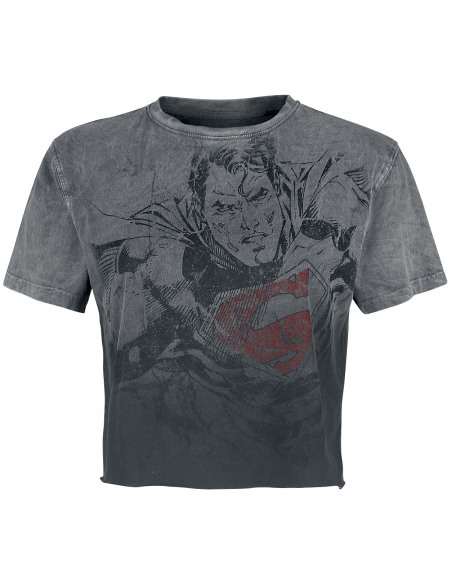 Superman Flying T-shirt Femme gris/noir