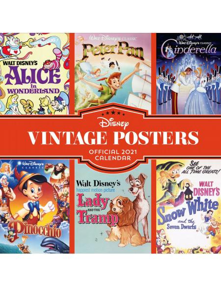 Walt Disney Calendrier Mural 2021 - Posters Vintage Calendrier mural multicolore
