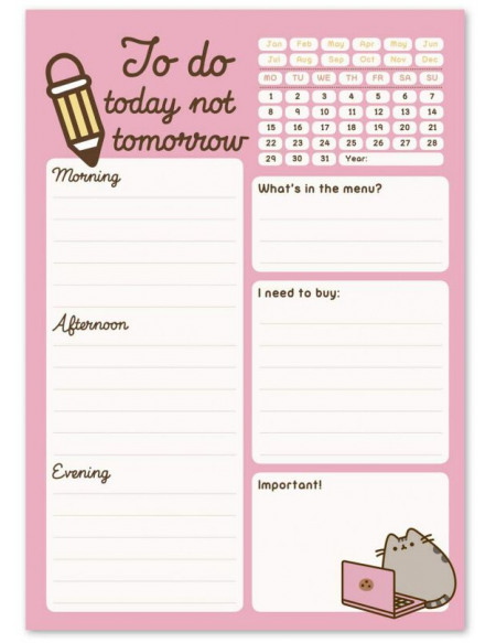 Pusheen To Do (Tomorrow) Bloc-notes rose