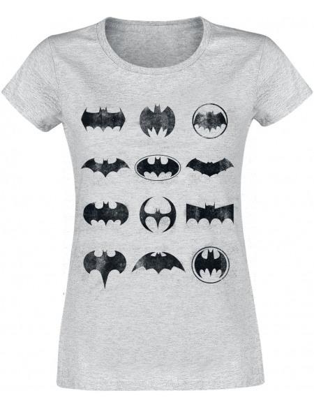Batman Logo À Travers Le Temps T-shirt Femme gris chiné