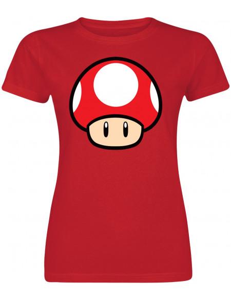 Super Mario Champignon T-shirt Femme rouge