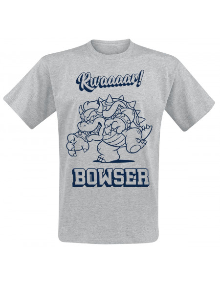 Super Mario Bowser - Rawr T-shirt gris chiné