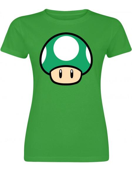 Super Mario Champignon T-shirt Femme vert