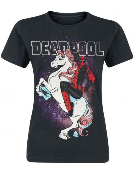 Deadpool Licorne T-shirt Femme noir