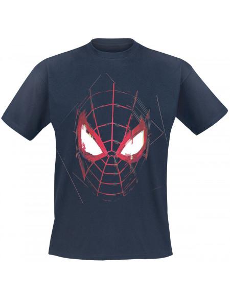 Spider-Man Miles Morales - Masque T-shirt bleu foncé