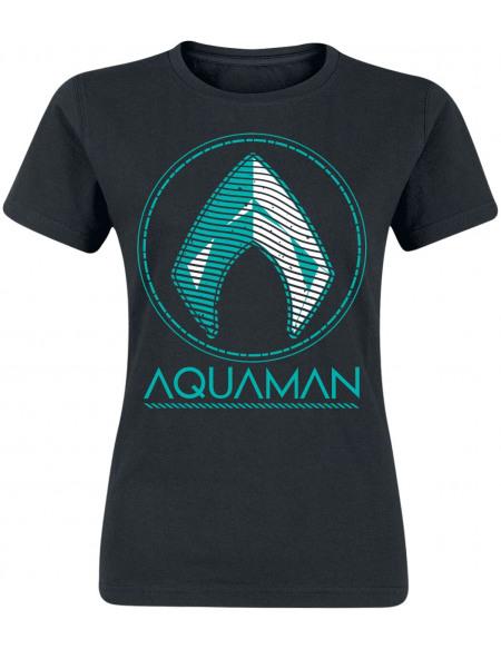 Aquaman Distressed Shield T-shirt Femme noir