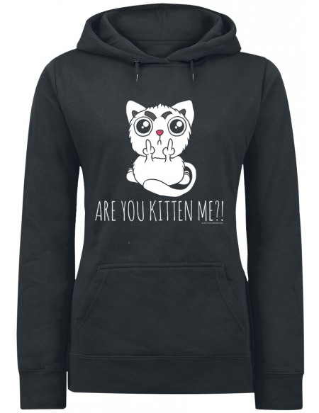 Are You Kitten Me?! Sweat à Capuche Femme noir